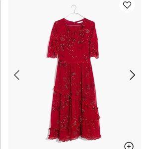 NEW Madewell Windpoppy Ruffle Midi Dress